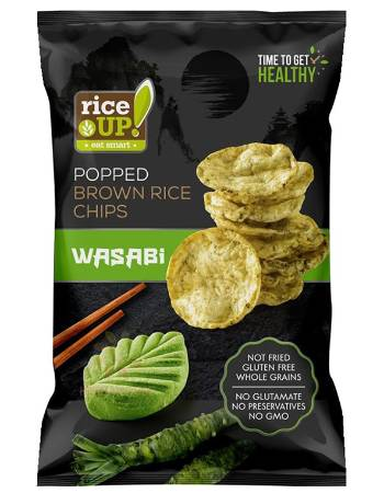 RICE UP POPPED BROWN RICE CHIPS WASABI 60G